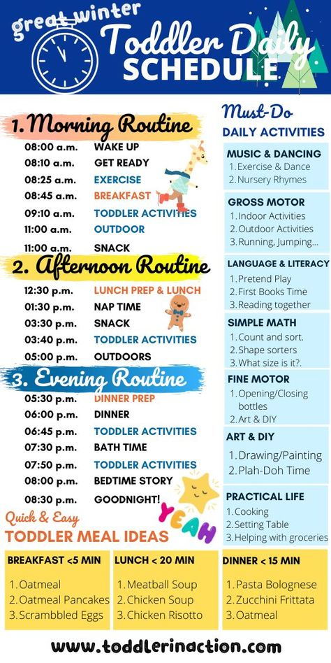 Make your life easier with a simple and easy to follow daily toddler schedule. Plan and live your life better. This simple routine incl. also must-do daily toddler activities and some quick, easy and healthy toddler meal ideas #toddlerschedule #toddlerroutine #dailytoddlerschedule #dailytoddlerroutine #toddleractivities #toddlermealideas #wintertime #simpletoddlerschedule