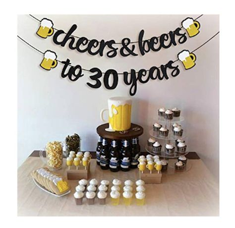 Cheers and Beers Banner Birthday Party Banner Beer Bachelorette Party Gold Glittery Cheers & Beers Beer Party Supplies Beer Theme Man 30th Birthday Ideas, Husband Birthday Parties, Beer Birthday Party, Surprise 30th Birthday, Birthday Decorations For Men, 30th Birthday Cakes For Men, Beer Party Decorations, Birthday Surprises For Him, 30 Birthday