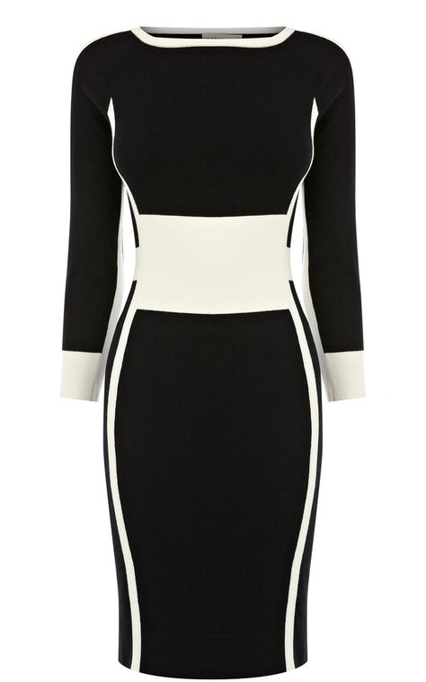 Karen Millen contrast tipped knit dress. Gorgeous. This a the dress you need to be wearing when you run-into an old boyfriend. Soooo figure-flattering and such quality.