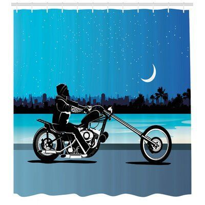 Ambesonne Chopper Motorcycle Shower Curtain Set Size 70 Motosharleydavidsonchoppers Motorcycleharleydavidson In 2020 Chopper Motorcycle Chopper Scrambler Motorcycle