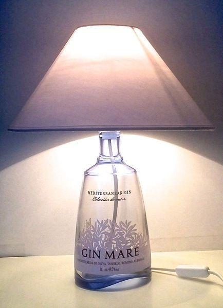 Gin Mare Lampe Von Gogreen Auf Dawanda Com Mit Bildern Lampe Aus Flaschen Flaschenleuchten Flaschenlampe