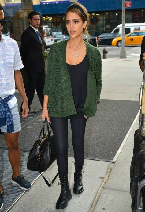 when wearing a colored cardigan, the rest of the outfit should be neutral