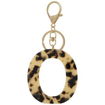 Leopard Print Letter Keychain O In 2020 Dark Beige Lettering Personalized Items