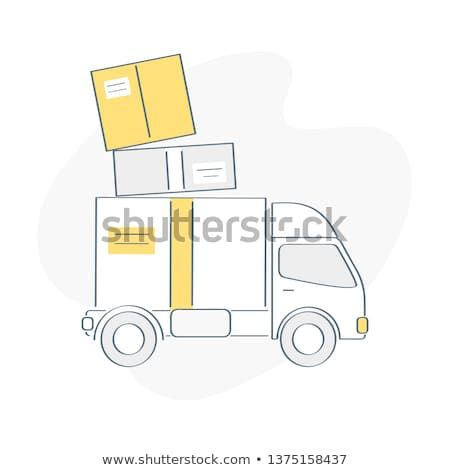 Delivery Van Fast Service Truck Moving House Pile Cardboard