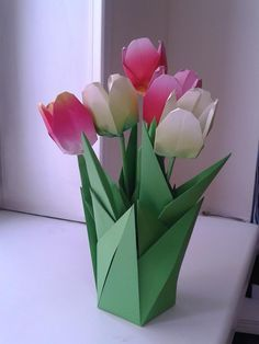 Origami tulip and vase origami pinterest origami and craft origami tulips mightylinksfo