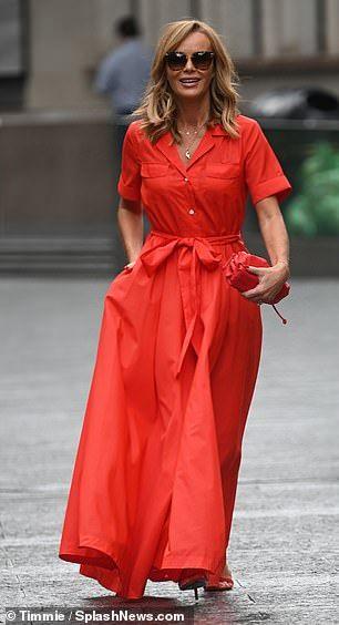 Amanda Holden Looks Sensational In A Red Dress As She Leaves Work In 2020 Red Dress Maxi Amanda Holden Dresses