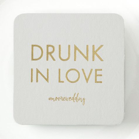 Our square-shaped DRUNK IN LOVE coasters are the perfect addition to any wedding reception or special occasion and are a great keepsake for