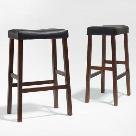 """Set of 2 Lewis Saddle 29/""""H Counter Stool Chair Nailhead Trim Seat Black PU Seat"""