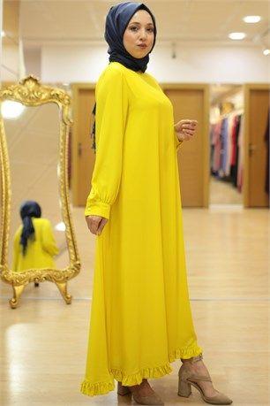 Meri Store 2796 Firfirli Elbise Sari Elbise Elbise Modelleri Giyim