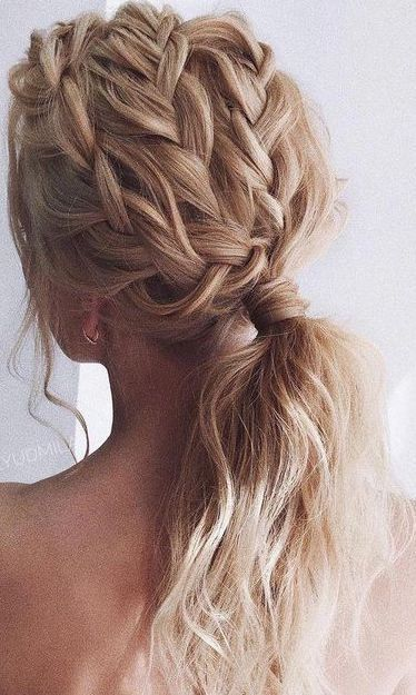 Cool Hairstyles For Long Hair Elegant Updo Hairstyles Upstyles For Shoulder Length Hair In 2020 Braids For Long Hair Thick Hair Styles Pretty Braids