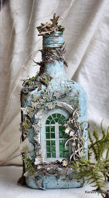 Glass Bottle Crafts, Wine Bottle Art, Diy Bottle, Glass Bottles, Wine Bottles, Mystical Forest, Wow Art, Bottle Painting, Jar Crafts