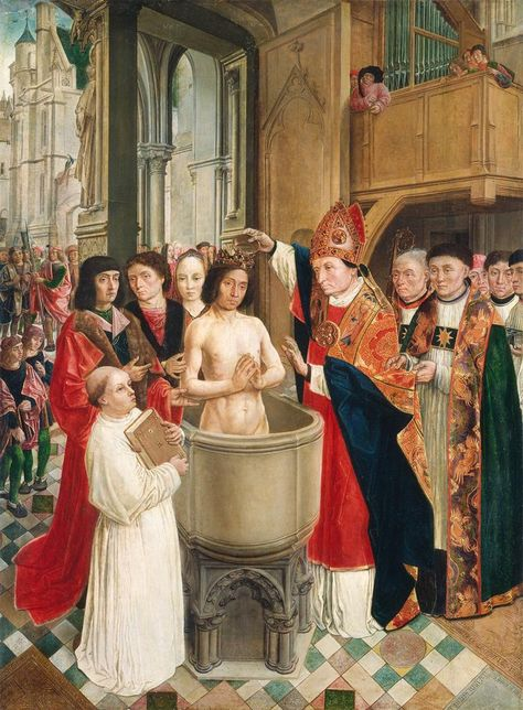 The Baptism of Clovis, painted around 1500 by Master of Saint Giles.  Clovis (d. 511) was the founder of the Merovingian dynasty and the first Christian king of France. The setting for his baptism can be recognized as Sainte-Chapelle, the royal chapel on the Ile-de-la-Cité in Paris. Among the witnesses is his wife, Clothilde, who was largely responsible for his conversion.