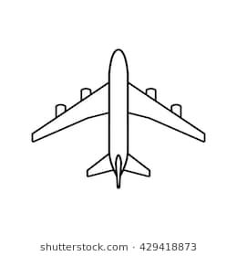 Black Plane Outline Simple Airplane Line Icon Design Simple