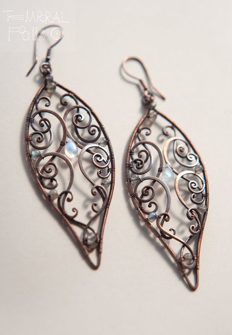 Big Leaves copper earrings by TemporalFocus