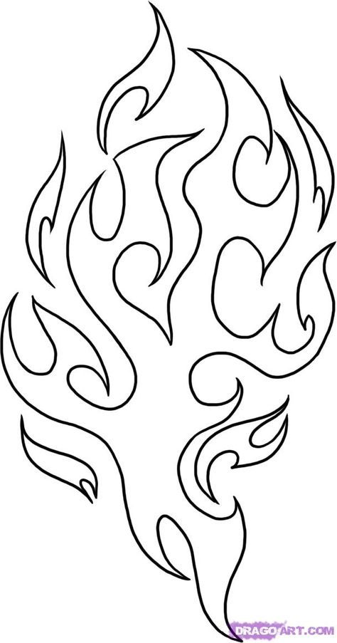 Fire Flames Coloring Pages Drawing Flames Stencil Templates Tattoo Pattern