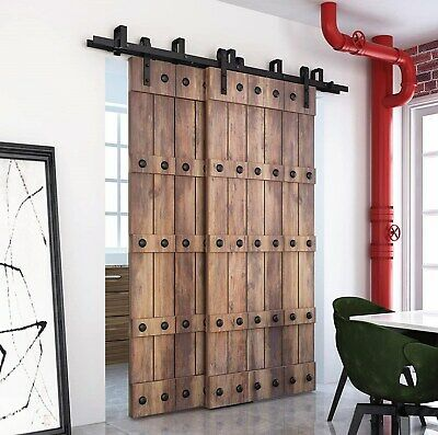 Details About Diyhd 5ft 10ft Rustic Black Bypass Double Sliding Barn Door Hardware Bypass Kit In 2020 Double Sliding Barn Doors Double Sliding Doors Sliding Door Track