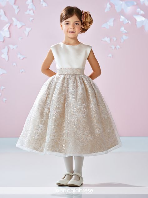 a6a851937cc7 Satin and sparkle tulle make the Joan Calabrese 117351 dress a favorite of flower  girls everywhere, Â topped with short cap sleeves on an A-line skirt.