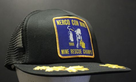 d81f7a1a12b Vintage Mine Rescue Champs Trucker Hat Cap Mesh Patch Nerco Con Mine  Hipster  HaT  Trucker