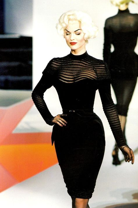 Haute Couture F/W 1995 Thierry Mugler Documented Galaxy Glamour Bombshell Dress 3