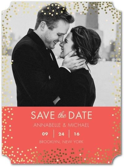 From rose gold to silver, discover different foil-stamped save the date cards that are ready to shine.