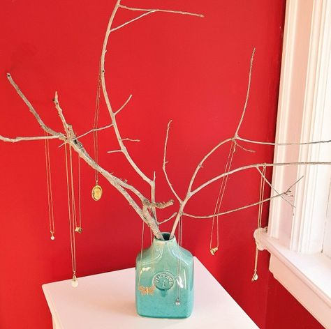 Jewelry Tree - Great idea!  Find an interesting branch, and then showcase a vintage jar or vase. Love it.
