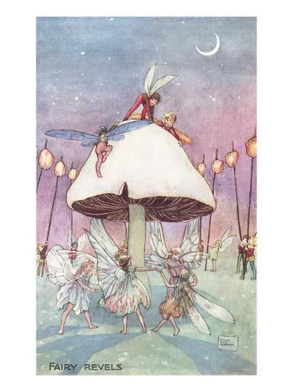 Inch Print (other products available) - Enchanting illustration showing fairies dancing in a ring underneath a toadstool while pixies, elves and sprites watch and hold lamps. <br> <br> - Image supplied by Mary Evans Prints Online - print made in the UK Fine Art Prints, Canvas Prints, Indie, Gothic Fairy, Lowbrow Art, Funny Tattoos, Fairy Art, Wedding Art, Aesthetic Art