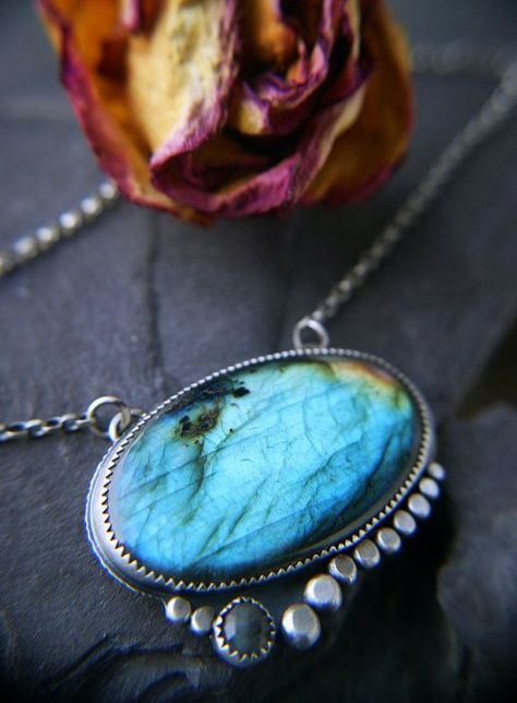 Power Neath the Waters ---------Labradorite Sterling Silver Necklace