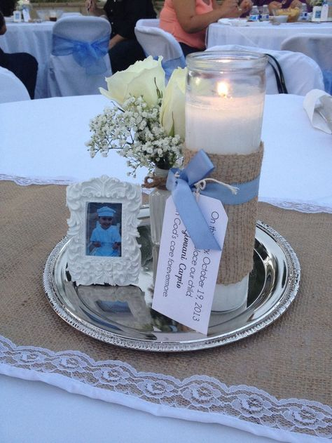 Planing on doing this center pieces for jays baptism..looks cute and simple