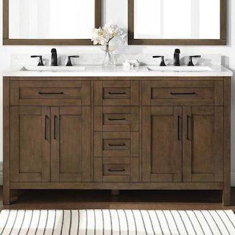 Ove Decors Tahoe 60 In Almond Latte Undermount Double Sink Bathroom Vanity With White Ceramic Top Lowes Com Wooden Bathroom Vanity Double Sink Bathroom Vanity Double Vanity Bathroom