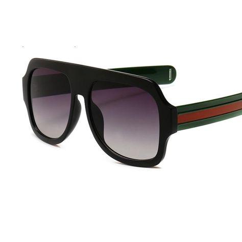 7638aa3404 aviator sunglasses ladies fashion Flat top Red green designer sunglass –  KOREAIDOLFEVER