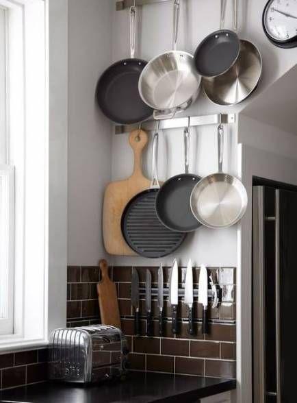 Apartment Ideas Small Kitchen Pot Racks 33 For 2019