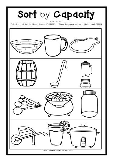 capacity worksheets for kindergarten worksheets | Volume Of Liquid ...
