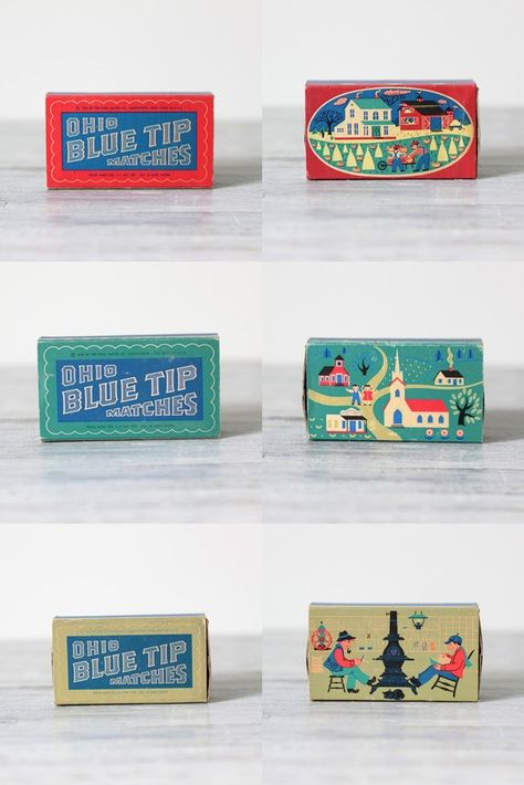 1955 ohio blue tip match box