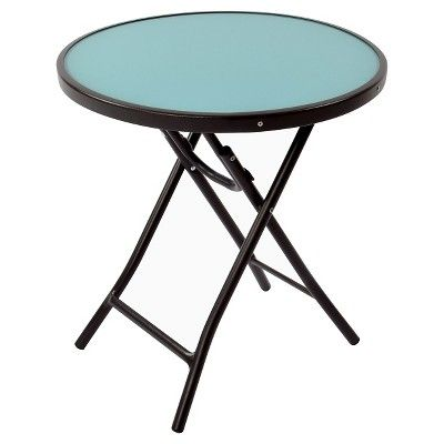 Round Glass Folding Patio Accent Table Blue Threshold Target