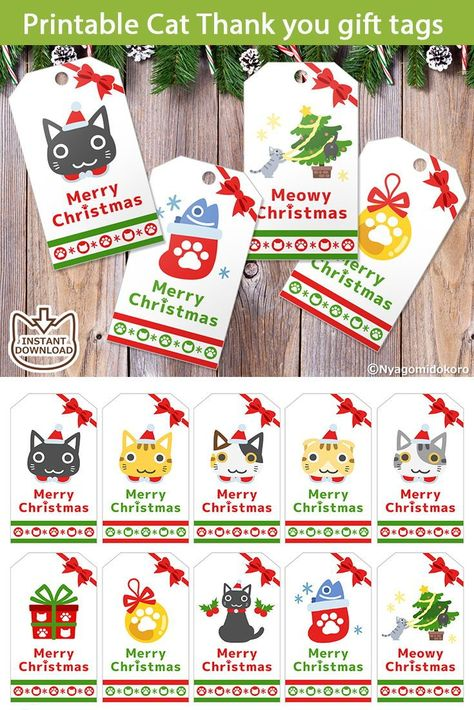Printable Christmas Cat Gift Tags with Kawaii design.This Instant download digital file is set of 10 gift tags.Perfect for Christmas and holiday gifts for cat lovers!