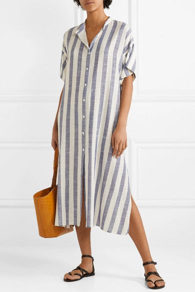 Shirt Dress Ladies Women   Casual Dresses 6-18 Midi Linen Buttons Striped