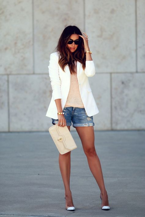 Nude basic tank & purse, white jacket & heels, MINUS the denim shorts = Perfect Outfit