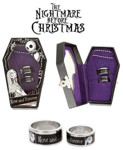Nightmare Before Christmas Jack Sally Ring Set Now And Forever Coffin Box Disney Nightmare Before Christmas Rings Nightmare Before Christmas Wedding Nightmare Before Christmas
