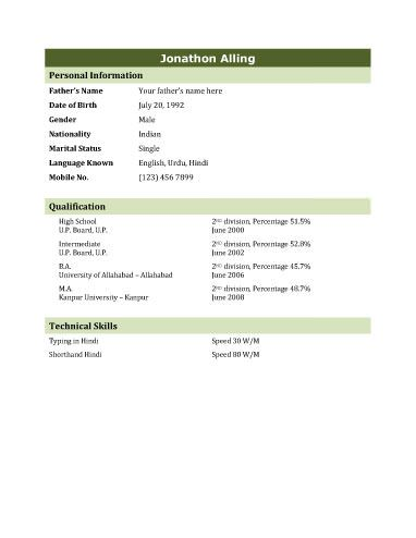 Biodata Template 4 Resume Templates and Samples Pinterest - sample resume bio data