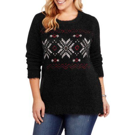 French Laundry Women's Plus Crew Neck Winter Festive Fair Isle ...