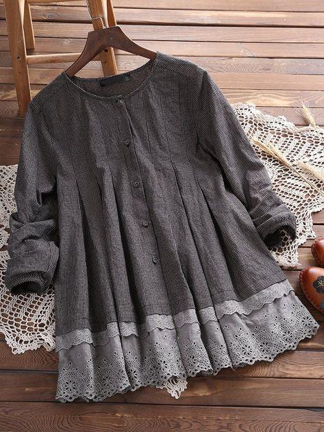 Women Plaid Lace Patchwork Vintage Long Sleeve Blouses Cheap - NewChic - #Blouses #Cheap #lace #long #NewChic #Patchwork #plaid #sleeve #Vintage #women
