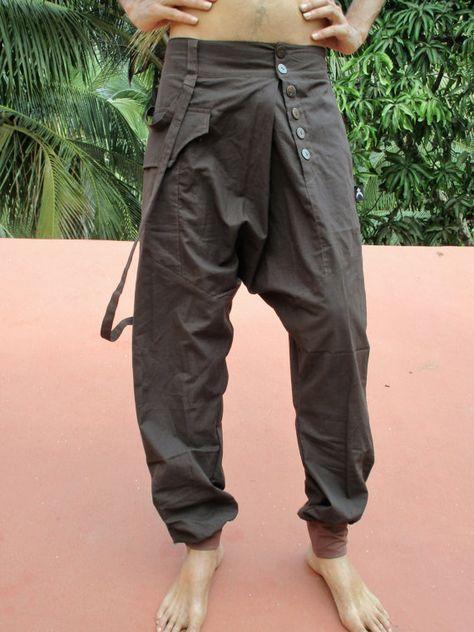 Pantalones De Yoga Hombre Deportivos Casuales para Cintura El/áStica Vintage Pantalones Recortados Tallas Grandes de Lino de Algod/ón Pantalones Holgados de Har/én Pantalones Ropa Etnica