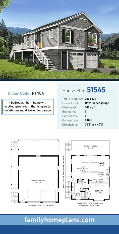 Garage Living Plan 51545 With 1 Bed 1 Bath 2 Car Garage Garage House Plans Garage House Garage Apartment Plans