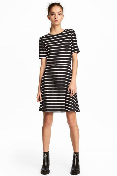 4061b113225 Rib-knit Dress - Black white striped - Ladies