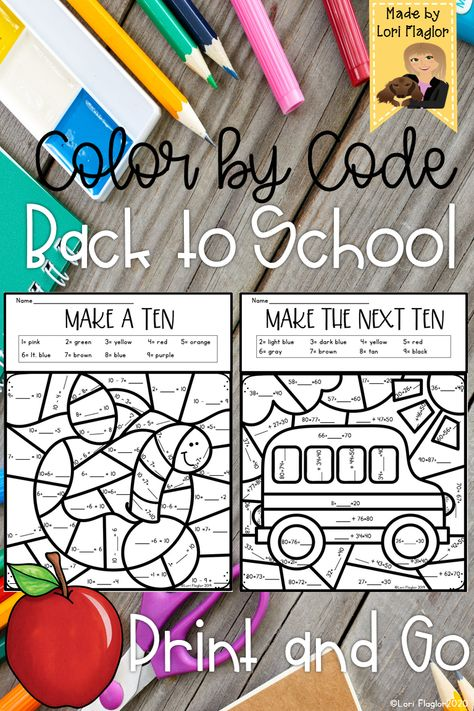 Color By Code Back to School
