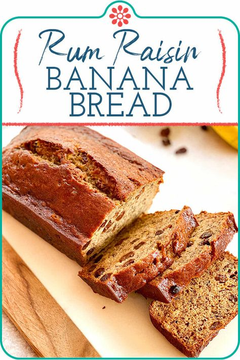 Jamaican Banana Bread! This banana bread is tender and flavorful, with cinnamon, nutmeg, and—the Jamaican essential spice—pimento (aka allspice). But the most memorable part? The plump, rum-soaked raisins speckled throughout every slice. #simplyrecipes #jamaicanbananabread #bananabread #quickbread #bakingrecipes #fallbaking