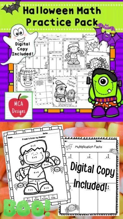 Halloween 2020 Digitalcopy Halloween Math Practice Pack in 2020 | Math activities, Math