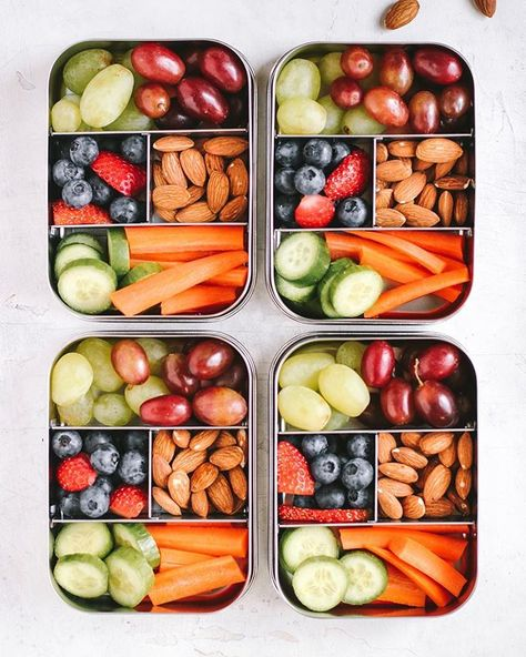 The more the merrier! Our is perfect for those who love smaller portions of a variety of finger foods. Bonus: these vegan-friendly bentos, made by Corey of don't require any cooking! Lunch Box Recipes, Lunch Snacks, Vegan Snacks, Baby Food Recipes, Healthy Snacks, Healthy Eating, Healthy Recipes, Snack Box, Lunch Meal Prep