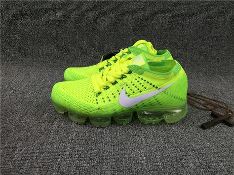 Nike Air VaporMax 2018 Flyknit Fluorescent Green Shoes by