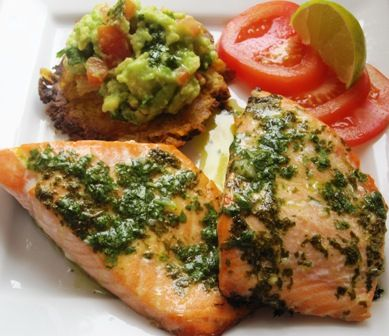 Baked Salmon with Cilantro Garlic Oil. I recommend halving the topping. UPDATE: made this! SO easy and ready in under 20 mins!